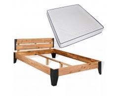 vidaXL Cama con colchón de espuma viscoelástica madera+acero 180x200cm