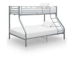 vidaXL Estructura de litera de metal gris 140x200 cm/90x200 cm