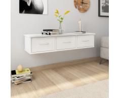 vidaXL Estante de cajones pared aglomerado blanco brillo 90x26x18,5 cm
