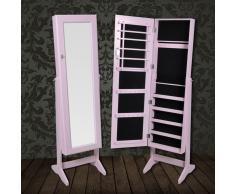 vidaXL Espejo Con Patas Armario Gabinete de Joya Color Rosa
