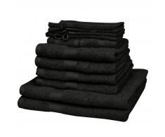 vidaXL Juego de toallas 12 piezas algodón 500 gsm negro