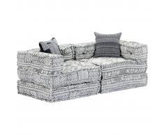 vidaXL Sofá cama modular de 2 plazas tela gris claro