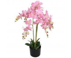 vidaXL Planta artificial orquídea con macetero 75 cm rosa