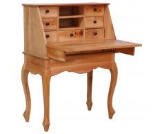vidaXL Escritorio secreter de madera maciza de caoba 78x42x103 cm