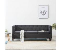 vidaXL Sofá Chesterfield de 3 plazas con tapizado de tela gris oscuro