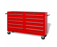 vidaXL Carrito-caja de herramientas 10 cajones tamaño XXL acero rojo