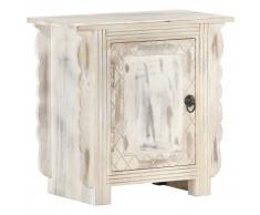 vidaXL Mesita de noche madera maciza de mango blanca 50x30x50 cm