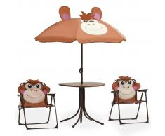 vidaXL Mesa y sillas de jardín infantil 3 piezas con sombrilla marrón