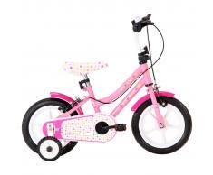 vidaXL Bicicleta para niños 12 pulgadas blanco y rosa