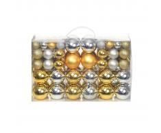 vidaXL Lote de bolas de Navidad 100 unidades plateadas/doradas 6 cm
