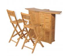 vidaXL Set mesa y sillas plegables bistró de jardín 3 pzas teca maciza