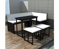 vidaXL Conjunto de sofás jardín 12 unidades poli ratán negro