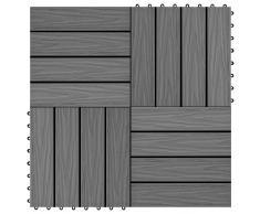 vidaXL Baldosas porche relieve profundo WPC 30x30 cm 1 m² gris 11 uds