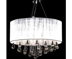 vidaXL Lámpara colgante de techo, blanca con 85 cristales
