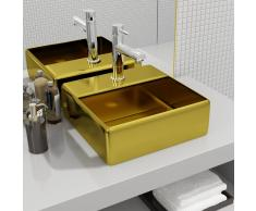 vidaXL Lavabo con orificio para grifo 38x30x11,5 cm cerámica dorado
