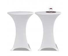vidaXL 2 Manteles blancos ajustados para mesa de pie - 70 cm diámetro