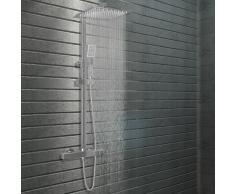 vidaXL Kit de ducha combinado con termostato acero inoxidable