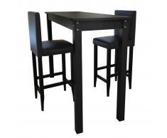 vidaXL Mesa de bar con 2 sillas barra negras