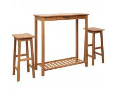 vidaXL Set de mesa y sillas de bar 3 piezas madera maciza de roble