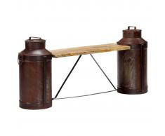 vidaXL Banco con cántaros de leche madera maciza de mango 150x33x64 cm