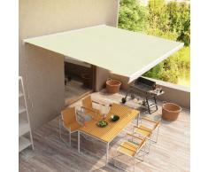 vidaXL Toldo de carrete manual color crema 400x300 cm