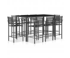vidaXL Set mesa y sillas altas cocina 9 pzas textilene gris antracita