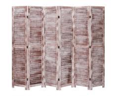 vidaXL Biombo de 6 paneles madera marrón 210x165 cm