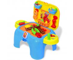 vidaXL Mesa de trabajo juguete para niños con herramientas (Azul+Amarillo)