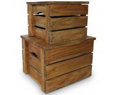 vidaXL Set de 2 cajas almacenaje madera maciza reciclada