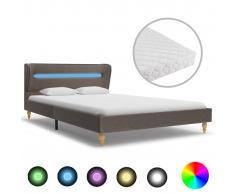 vidaXL Cama con LED y colchón tela gris topo 140x200 cm
