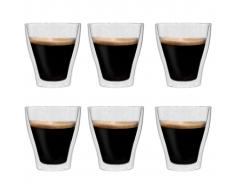 vidaXL Vasos de cristal térmico doble pared café con leche 6 uds 280ml