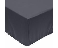 vidaXL Sábana bajera 90x220 cm algodón gris antracita 2 unidades