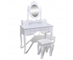 vidaXL Tocador con espejo y taburete 7 cajones blanco