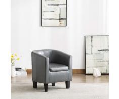 vidaXL Sillón con diseño de cubo cuero sintético gris