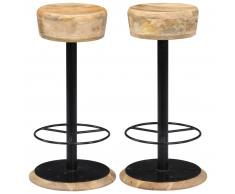 vidaXL Taburetes de cocina 2 uds 38x38x76 cm madera maciza de mango