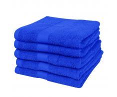 vidaXL 5 Toallas de algodón de color azul elegante, 70 x 140 cm, 500gr/m²