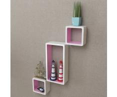 vidaXL Estanterías de cubos para pared 6 unidades blanco y rosa
