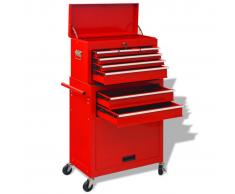 vidaXL Carrito-caja de herramientas 6 cajones acero rojo