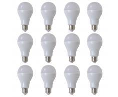 vidaXL Bombilla LED, E27, 12 unidades , blanco cálido, 9 W