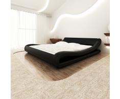 vidaXL Cama colchón viscoelástico cuero artificial 140x200 curva negra
