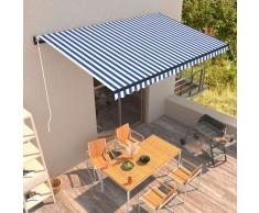 vidaXL Toldo manual retráctil azul y blanco 500x300 cm