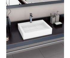 vidaXL Lavabo 60x38x11 cm resina mineral/mármol blanco