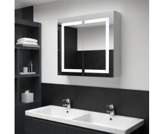 vidaXL Armario de cuarto de baño con espejo y LED 80x12,2x68 cm