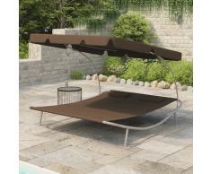vidaXL Tumbona doble de jardín con toldo y cojines marrón