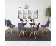 vidaXL Conjunto de mesa de comedor y sillas 7 uds blanco y gris oscuro