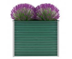 vidaXL Jardinera de jardín de acero galvanizado 100x40x77 cm verde