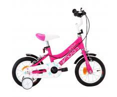 vidaXL Bicicleta para niños 12 pulgadas negro y rosa