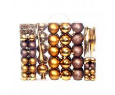 vidaXL Lote de bolas de Navidad 113 unidades 6 cm marrón/bronce/dorado
