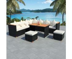 vidaXL Muebles de jardín 29 piezas ratán sintético y WPC negro
