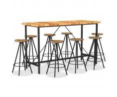 vidaXL Muebles de bar 9 pzas madera maciza acacia y madera reciclada